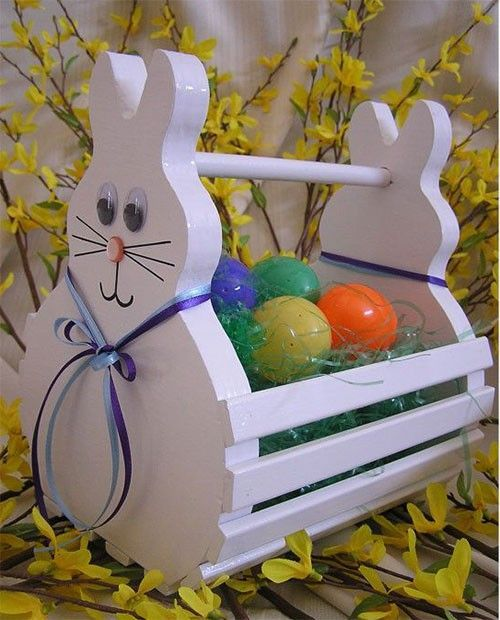 180 best woodworking easter crafts images on pinterest easter wooden easter bunny basket handmade to order white decorated negle Image collections