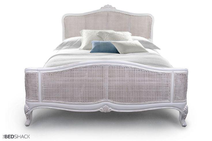 New French Ivory / White / Taupe / Grey Shabby Chic Mahogany Wooden Cane Bed   | eBay