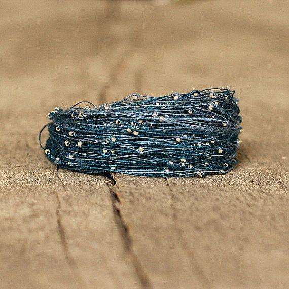 Blue Magnetic Bracelet Dainty Linen Thread by Naryajewelry on Etsy