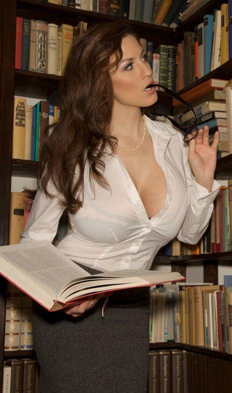 Jordan Carver in the library
