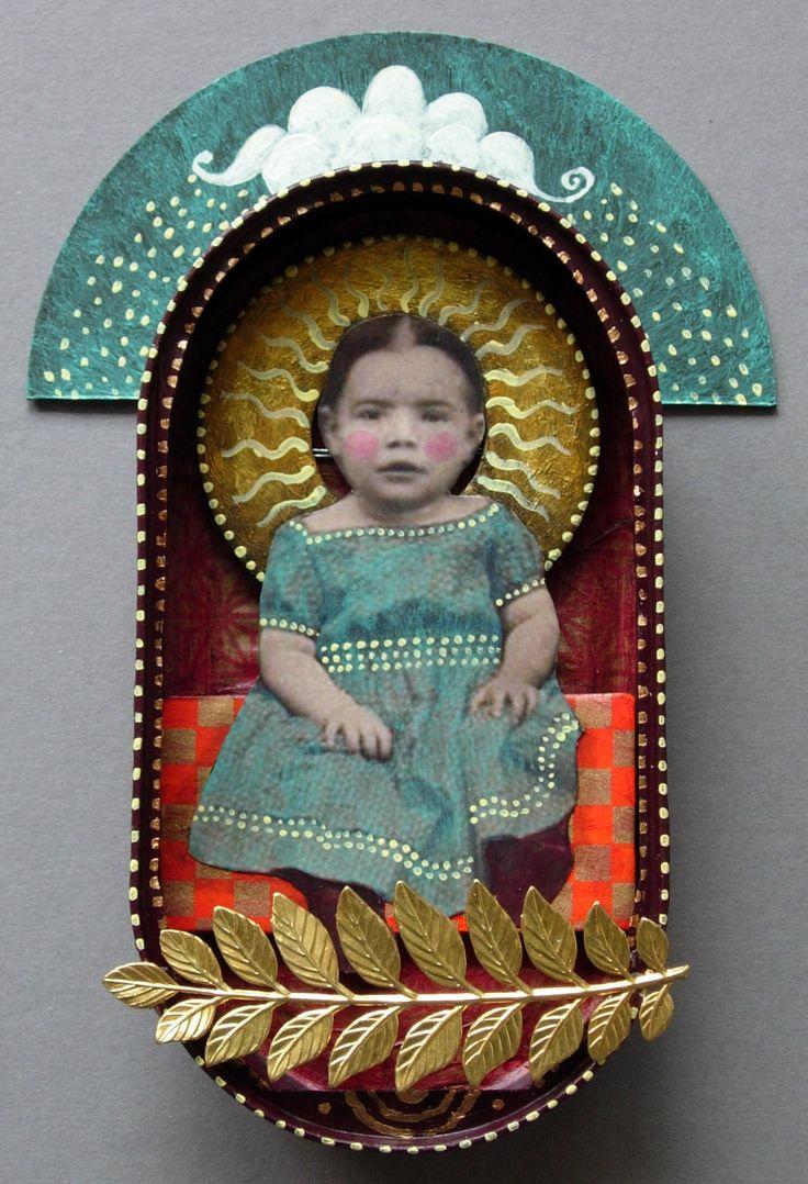 ⌼ Artistic Assemblages ⌼  Mixed Media & Collage Art - sardine saint series by julie liger-belair