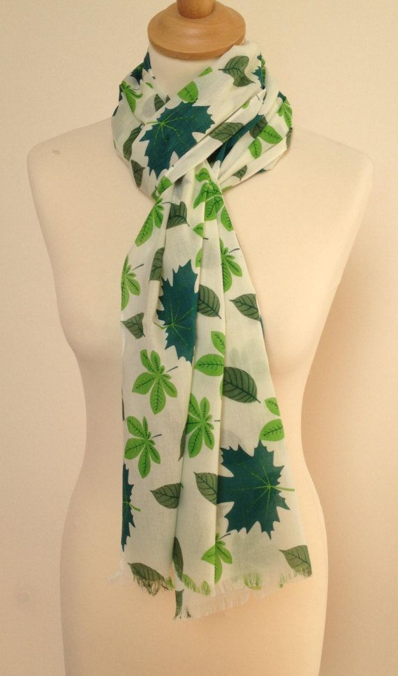 Leaf scarf  botanical scarf  green scarf  ladies shawl wrap