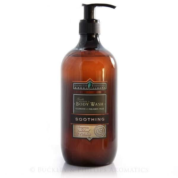 Gumleaf Aromatherapy Hand & Body Wash - SOOTHING  A gentle blend of  fresh citrus with earthy and woody base notes, calming the mind and uplifting the spirits.Hand & Body Wash 500 ml Pump Bottle.
