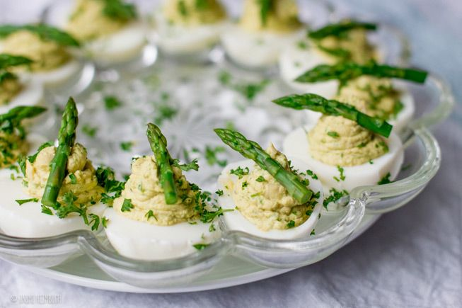 Serve the classic deviled eggs with fresh flavors at your Easter brunch, including avocado, dill, and Sriracha sauce.