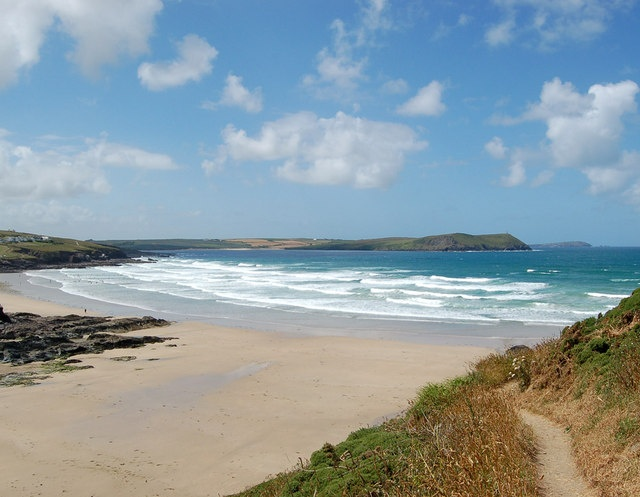 Polzeath Beach, good place to stay. Lots of surfing and just over the headland to Rock and Padstow