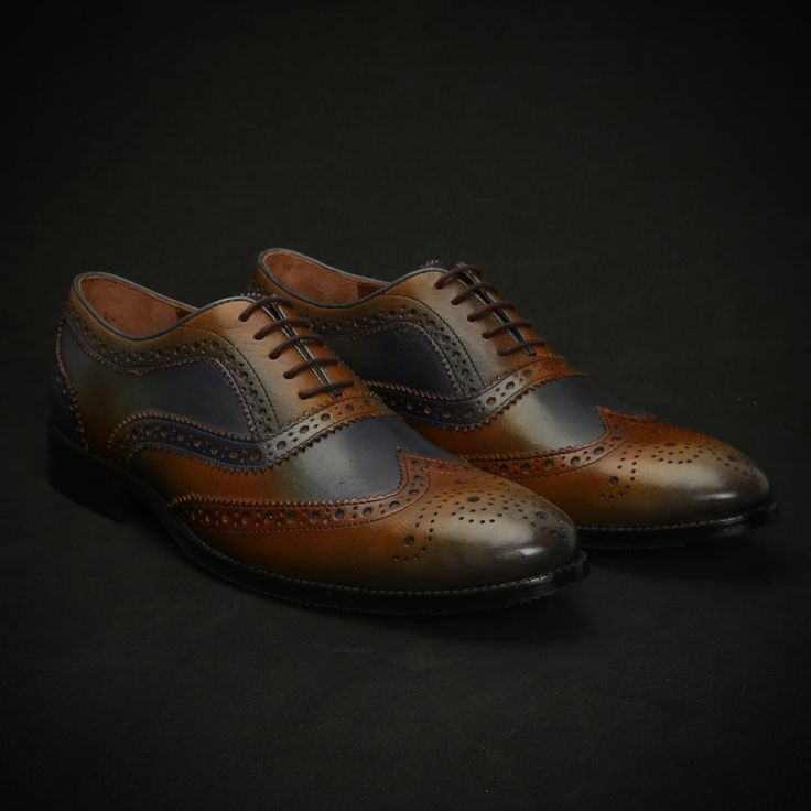 BUY #BRUNE TAN & BLUE LEATHER HAND FINISHED FULL #BROGUE AKA #WINGTIP SHOES ONLINE FOR MEN
