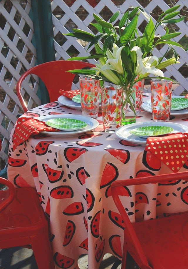 Apples + bed sheet+ fabric paint = easy summer watermelon tablecloth