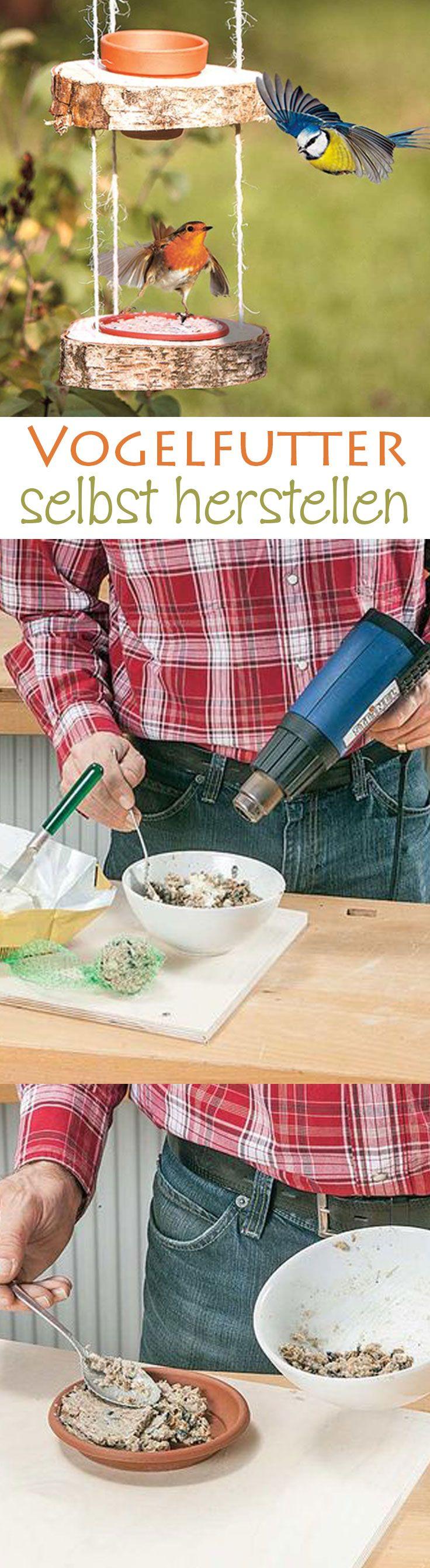 Jeder hat doch gerne die kleinen Piepmätze in seinem Garten. Mit Vogelfutter lockt man sie am besten an. Vogelfutter kann man auch selbst herstellen und in alle möglichen Gefäße füllen. Dafür benötigt man eine Körnermischung (oder einen Meisenknödel) und Kokosfett. Zusätzlich kann man noch Erdnüsse, Rosinen oder Mehlwürmer in den Mix geben, damit die Vögel gut über den Winter kommen. Das Kokosfett wird geschmolzen und mit den Körnern vermengt. Das Fett härtet nach kurzer Zeit aus.