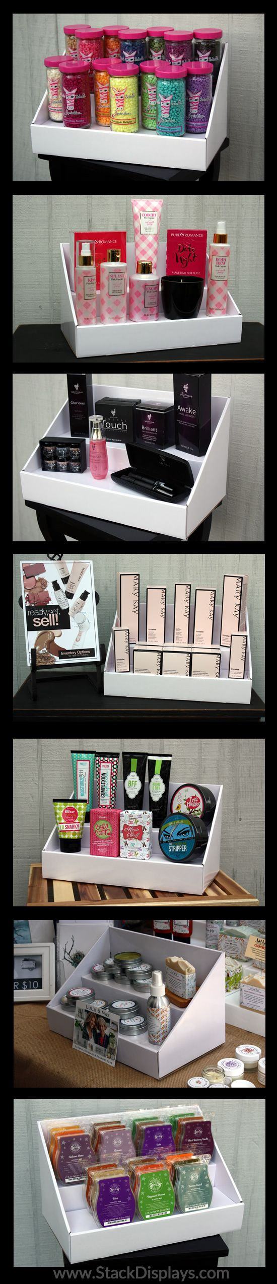 Direct Sales products on white Stack Displays! Pink Zebra, Pure Romance, Mary Kay, Younique, Perfectly Posh, Scentsy, Arbonne, Limelight by Alcone.