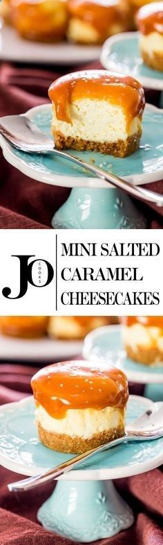 Mini Salted Caramel Cheesecakes - creamy bite-sized cheesecakes with a graham cracker crust and topped with a delicious…