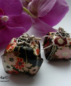 Bigger lantern origami earrings.