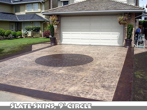 stamped concrete driveway | Slate Skin and Circle Stamped Concrete Driveway