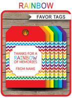 Rainbow Party Favor Tags template