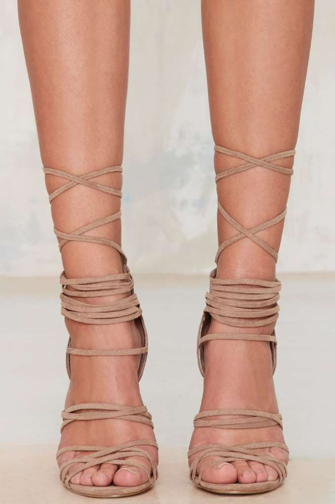 Nasty Gal Wrap Me Up Suede Heel - Back In Stock | Suede | Heels | Shoes | Shoes | All