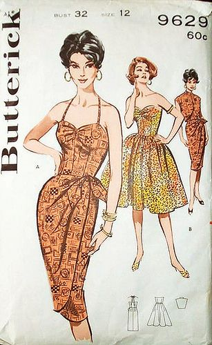 Butterick 1950's #9629 Hawaiian sarong bombshell dressDresses Pattern, Sarongs Dresses, Vintage Sewing Pattern, Parties Dresses, Vintage Pattern, 1950S Vintage, Butterick 9629, Sewing Patterns, Hawaiian Sarongs