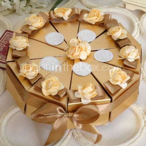 Gold Cake Favor Box With Flowers Set Of 10