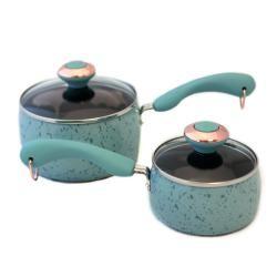 Paula Deen Signature Porcelain Robin's Egg Blue Saucepan Set | Overstock.com Shopping - Great Deals on Paula Deen Pots/Pans