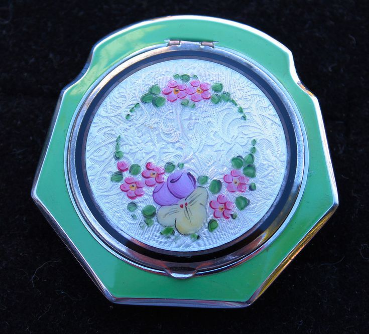 EXQUISITE VINTAGE EAM STERLING SILVER & GUILLOCHE ENAMEL FLORAL DESIGN COMPACT
