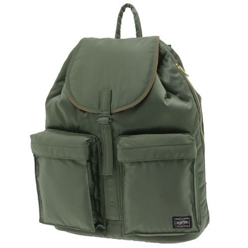 Porter Tanker Rucksack. Product No.:622-09312. Outside: Nylon twill (bonding finish on polyester side)/Inside: Nylon taffeta. W330/H430/D130. Available in Black, Silver Gray, Khaki