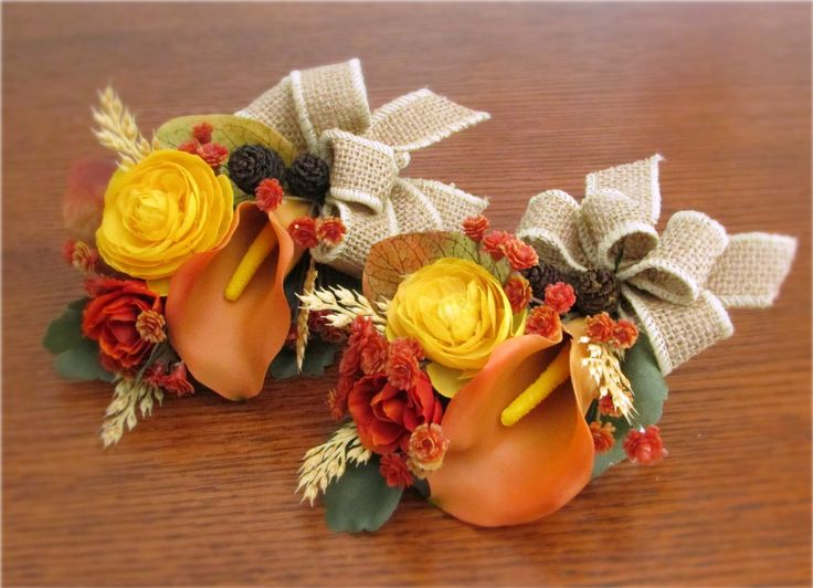 Orange Calla Lily & Yellow Ranunculus Wrist Corsages, Accented with Spray Roses, Gypsophila, Wheat, Mini Pine Cones, Rosehips, and Natural Burlap Bow #fallweddings #PosiesPearls