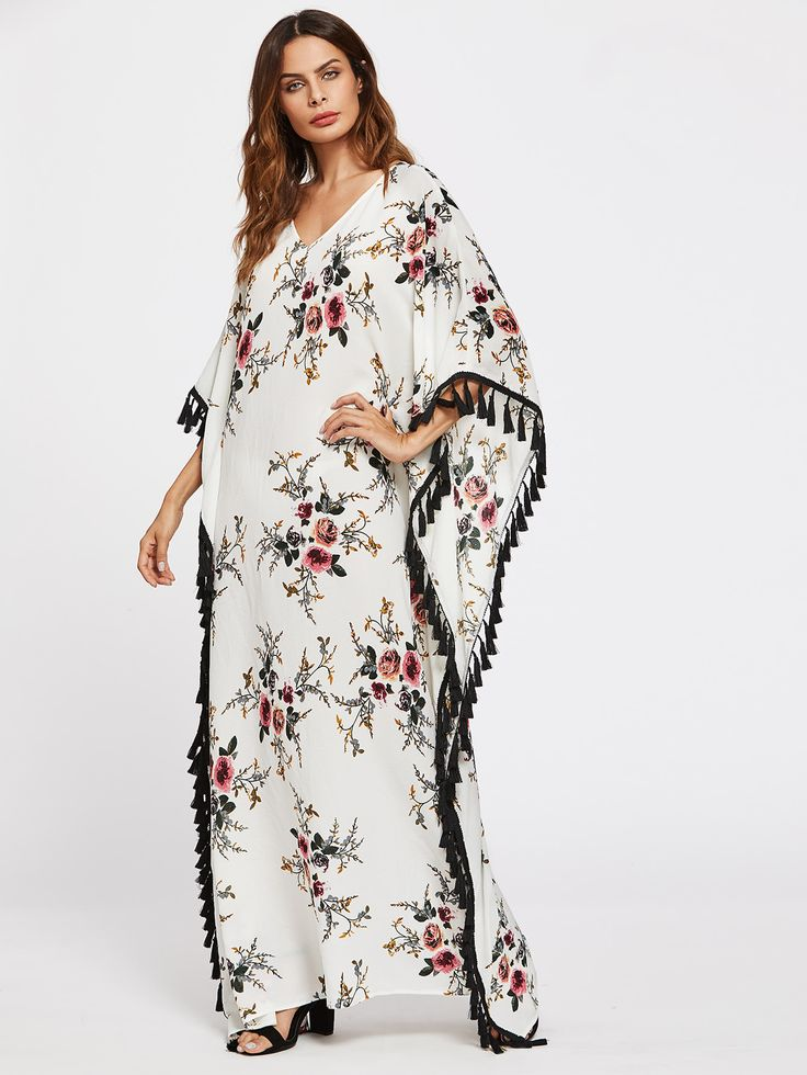 Shop Flower Print Tassel Trim Poncho Dress online. SheIn offers Flower Print Tassel Trim Poncho Dress & more to fit your fashionable needs.