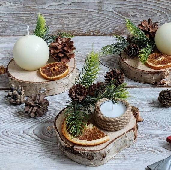 Wood Slice Mini Winter Christmas Table Decor Candle Arrangement Winter Table Decorations Christmas Table Decorations Christmas Decorations For The Home