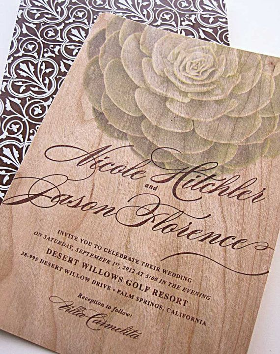 Real Wood Invitations Modern Succulent Invitation