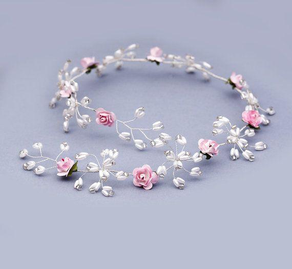 Pearl bridal vine hair vine flower halo vine by FloralHeadpiece