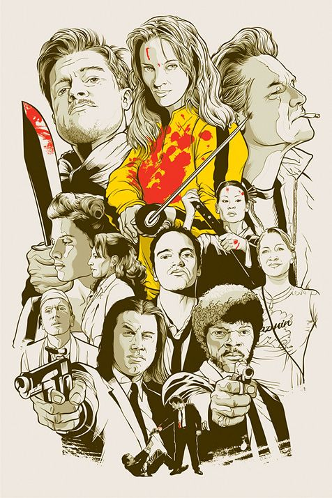 i doubt you will ever find a cooler Quentin Tarantino collage poster than this.