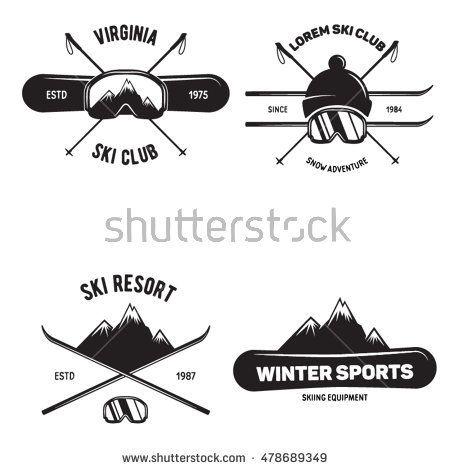 Set of Ski Club. Vintage Mountain winter badges. Outdoor adventure logo design. …
