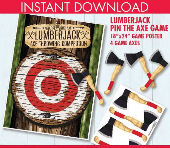 "Lumberjack Party - Pin the Axe Game - ""Axe Throwing Game"" - Lumberjack Party Game - INSTANT Download PDF - Printable Game... $4.99"