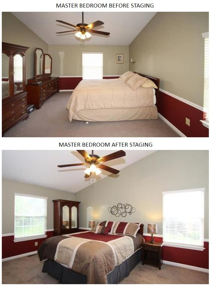 Before and After Staging Master Bedroom  staging before and after  Home staging Staging Home