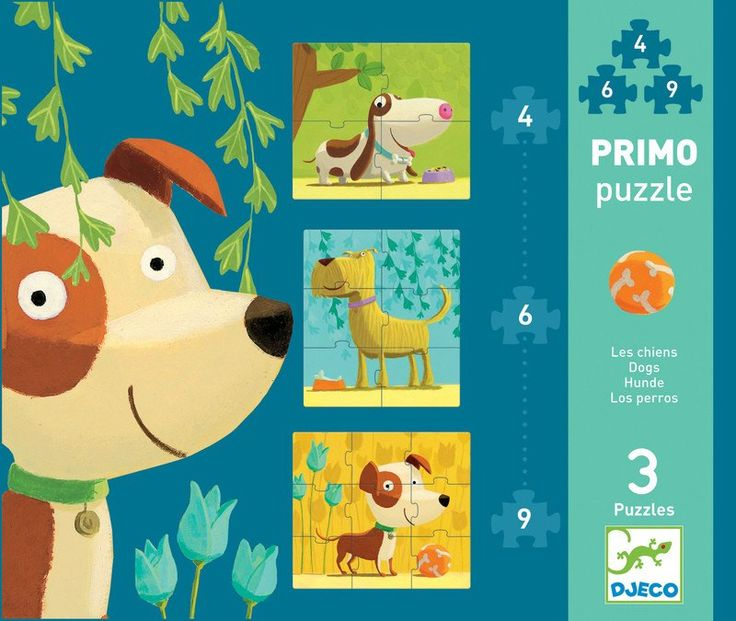 Ideal for early learning Three distinguished dogs feature in this first puzzle for little ones. There is a 4 piece, 6 piece and 9 piece puzzle This puzzle makes a great present for toddlers. DJECO  Puzzle Dogs #toys2learn #puzzle #earlylearning #djeco