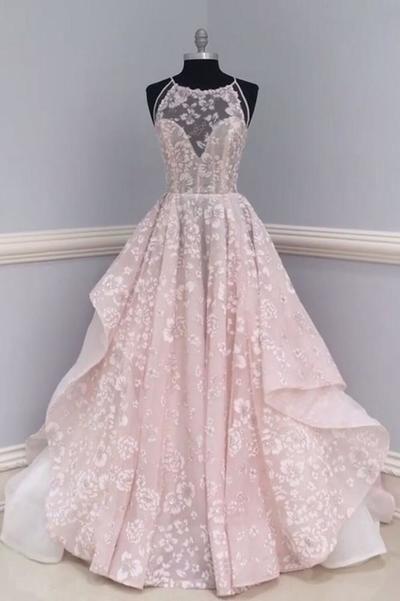 Rosa Spitze rückenfrei langen Rundhals anpassen formale Abendkleid, rosa Abendkleid …   – Prommm dresses