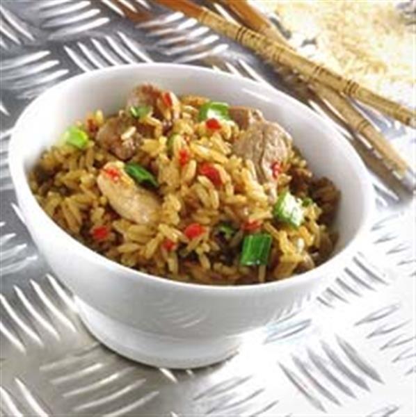 Stegte ris med mørbrad opskrift