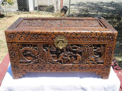 George Zee Hand Carved Cedar Chest Trunk Antique Asian. We Have This, But