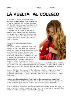SPANISH READING:LA VUELTA AL COLEGIO