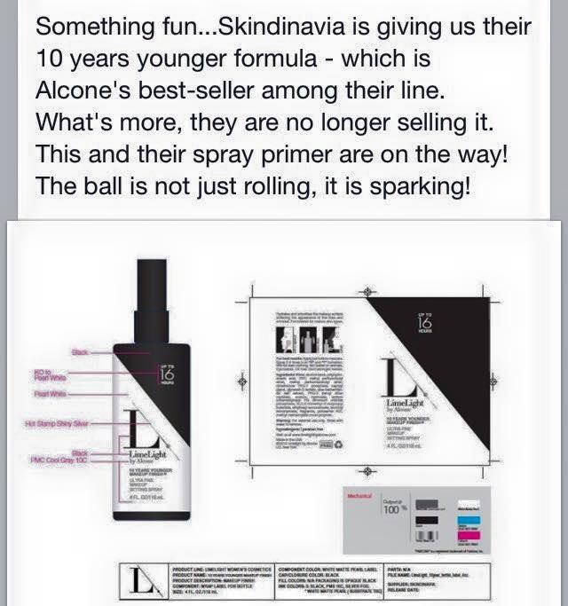 We can't wait! Skindinavia's 10 years younger setting spray formula will be resold as LimeLight by Alcone's!