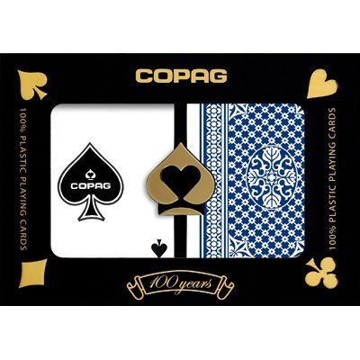 "Copag Pinochle Poker Size Regular Index Playing Cards (Red Blue Setup) by Copag. $14.95. This set of 100% Plastic Poker Size (2.50 x 3.5"") Regular Index COPAG Pinochle cards includes one Red deck pinochle cards"