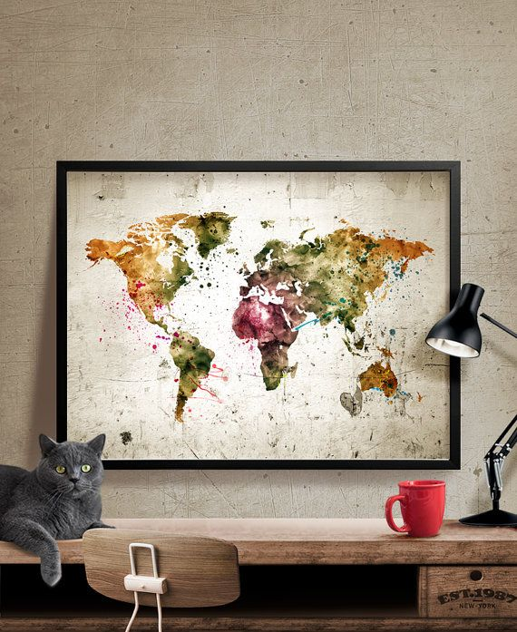Hey, I found this really awesome Etsy listing at https://www.etsy.com/listing/253079969/world-map-poster-watercolor-world-map