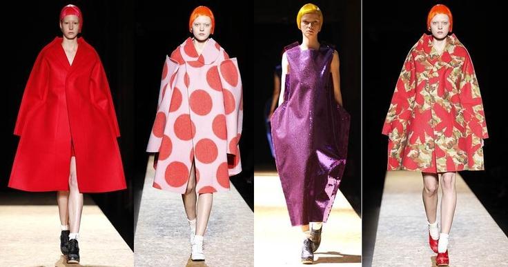 """Comme des Garcons: Vanguardia pura, una propuesta atrevida pero """"Mega Trend"""" , """"Mega Fashion"""", colores vivos con formas imaginarias y tamaños desproporcionados,  es totalmente femenino, no pretende ser  sexy, sino totalmente arrollador."""
