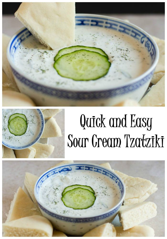 Quick and Easy Sour Cream Tzatziki: Made with sour cream this dip is perfect with Greek food, veggies and pita