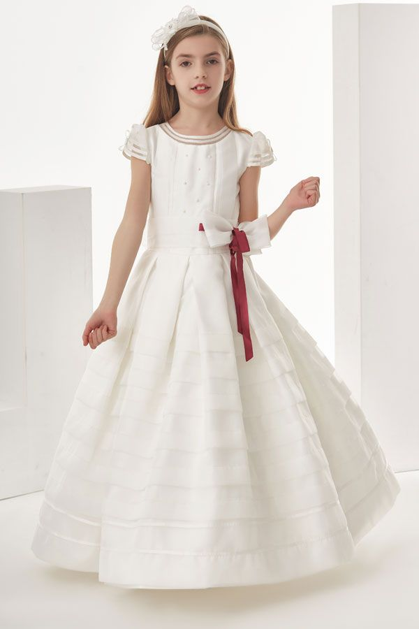 Organza Ball Gown Cap Sleeves Bow(S) Floor Length Communion Dress