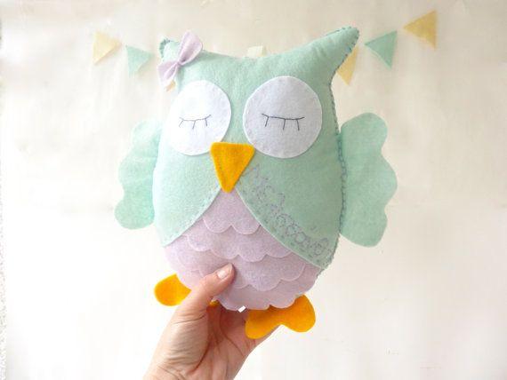 Personalized Owl, Stuffed Toy, Felt owl decor, nursery room decor, owl nursery, plush owl by LaPetiteMelina