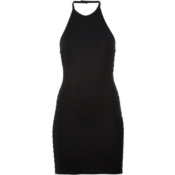 Balmain Halter Neck Mini Dress with Lace Details found on Polyvore featuring dresses, black, lace up dress, open back mini dress, sleeveless dress, short halter dress and sleeveless halter top