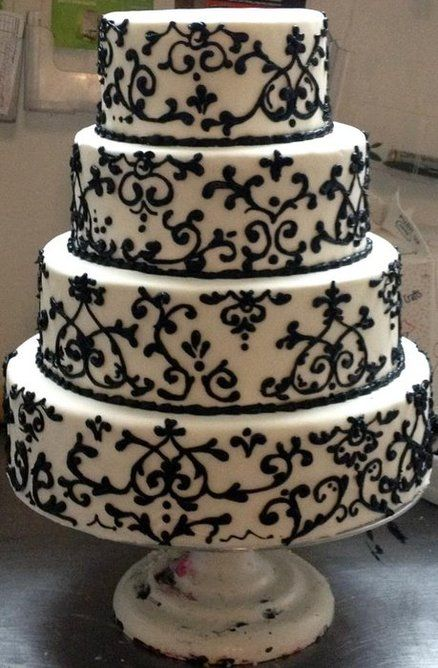 Black and White Damask cake  Cake by CakesByJackie