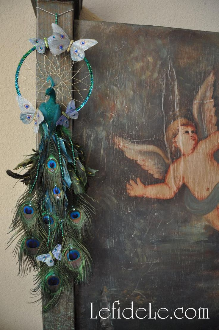 DIY Whimsical Peacock Dream-Catcher on Headboard Handmade from Vintage Peruvian Painting on Panel