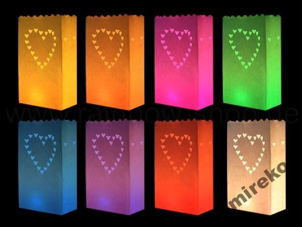 MIX kolorów Lampiony Papierowe SERCE kpl. 10szt.