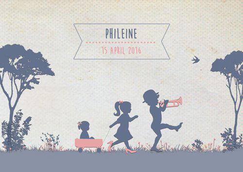 Geboortekaartje Phileine - voorkant - Pimpelpluis - https://www.facebook.com/pages/Pimpelpluis/188675421305550?ref=hl (# meisje - broertje - zusje - bolderkar - bomen - gras - trompet - origineel)