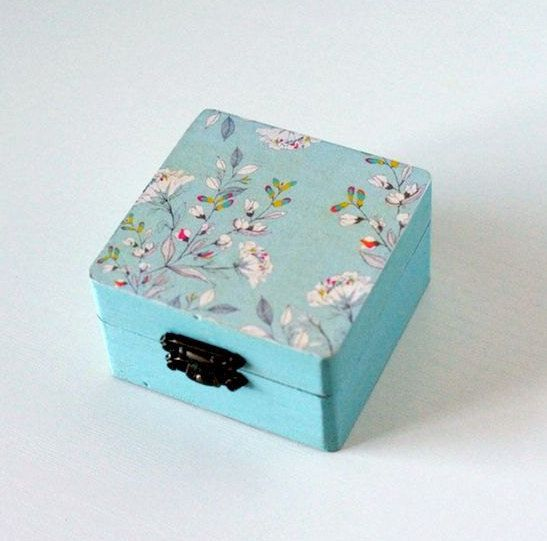 Handmade turquoise floral decoupage box by Gurdey on Etsy